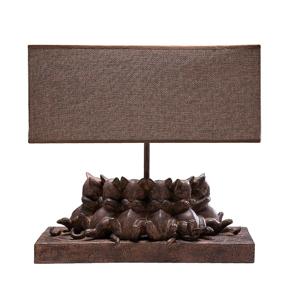 EEK A++, Tischleuchte TL Sleeping Cats – Braun – 1-flammig, Kare Design online kaufen