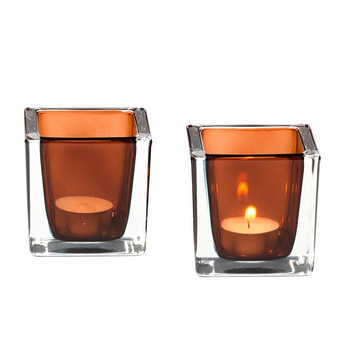 Tischlicht Cube (2er-Set) – Braun, Leonardo günstig kaufen