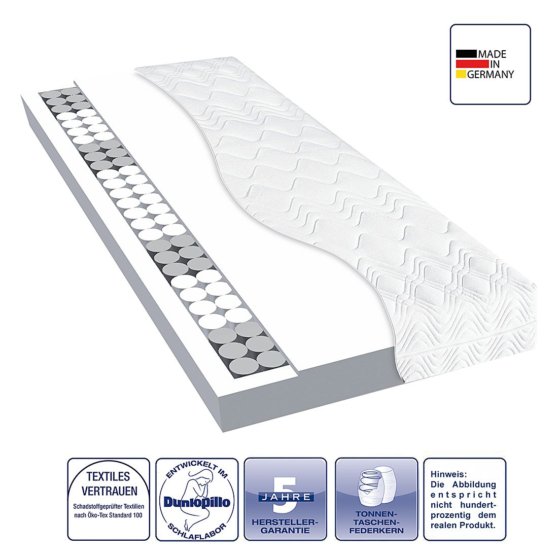 Tonnen-Taschenfederkernmatratze TFK Basic – 100 x 200cm – H3 ab 80 kg, Dunlopillo bestellen