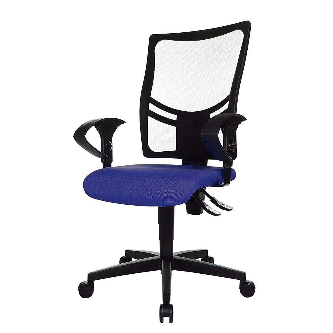 Bürodrehstuhl Net Point 10 - Mit Armlehnen - Schwarz / Blau, Topstar