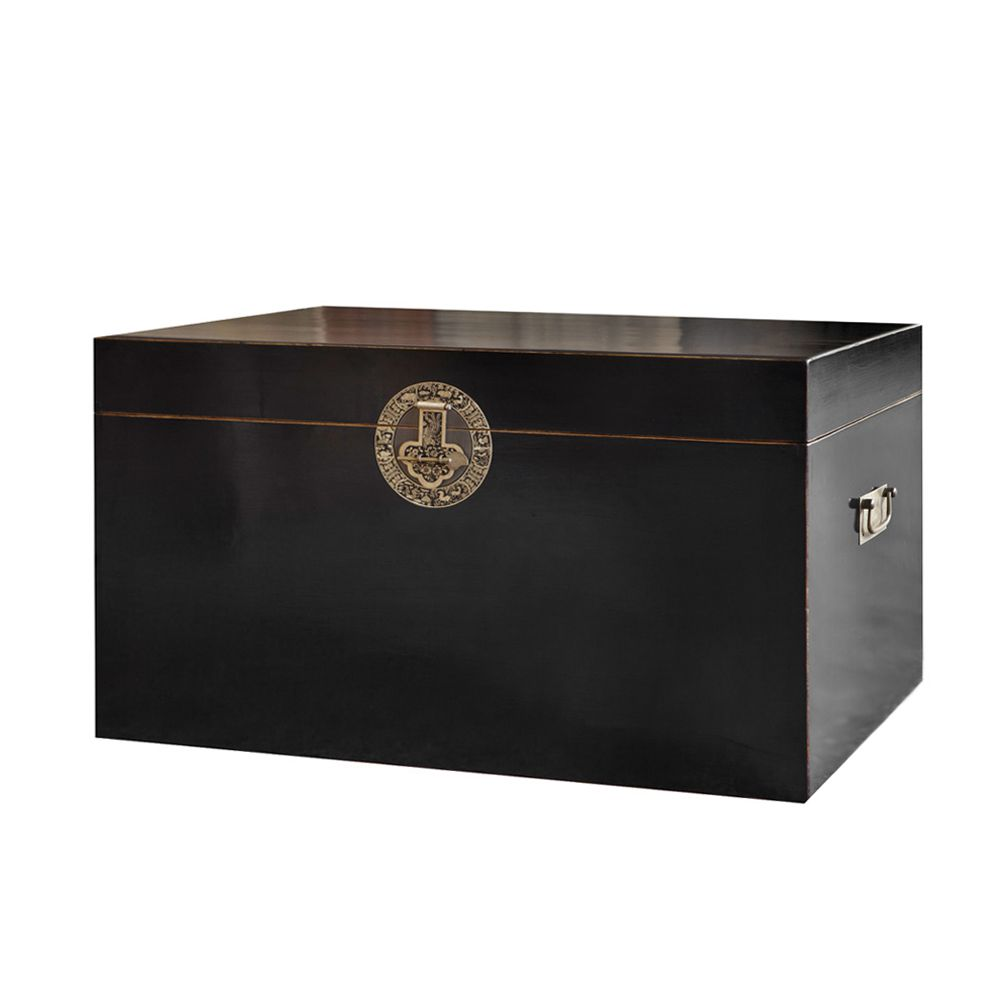 Truhe Tibet II – Pappel Massivholz – Schwarz lackiert, ars manufacti jetzt kaufen