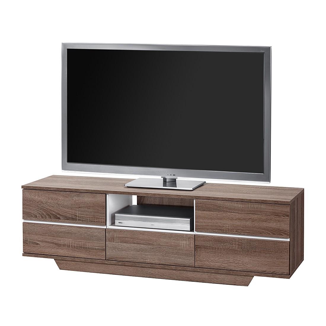 TV-Bank Amieka II - Eiche Trüffel Sägerau Dekor/Weiß Hochglanz ...