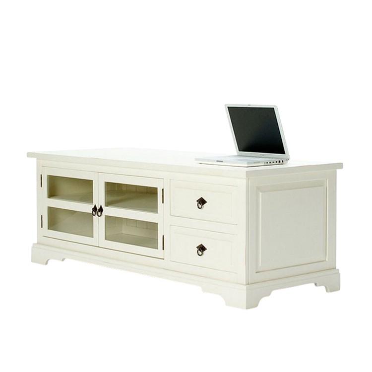 TV-Bank Capri - Pinie massiv - weiß lackiert