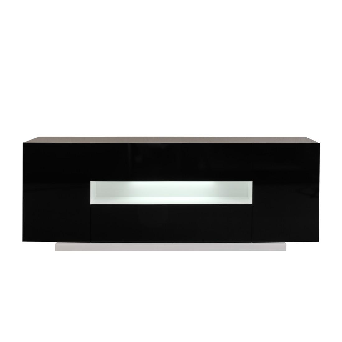 TV-Kommode Oceano - Weiß/Schwarz Hochglanz - mit Nische (Ausführung: Ohne Beleuchtung)