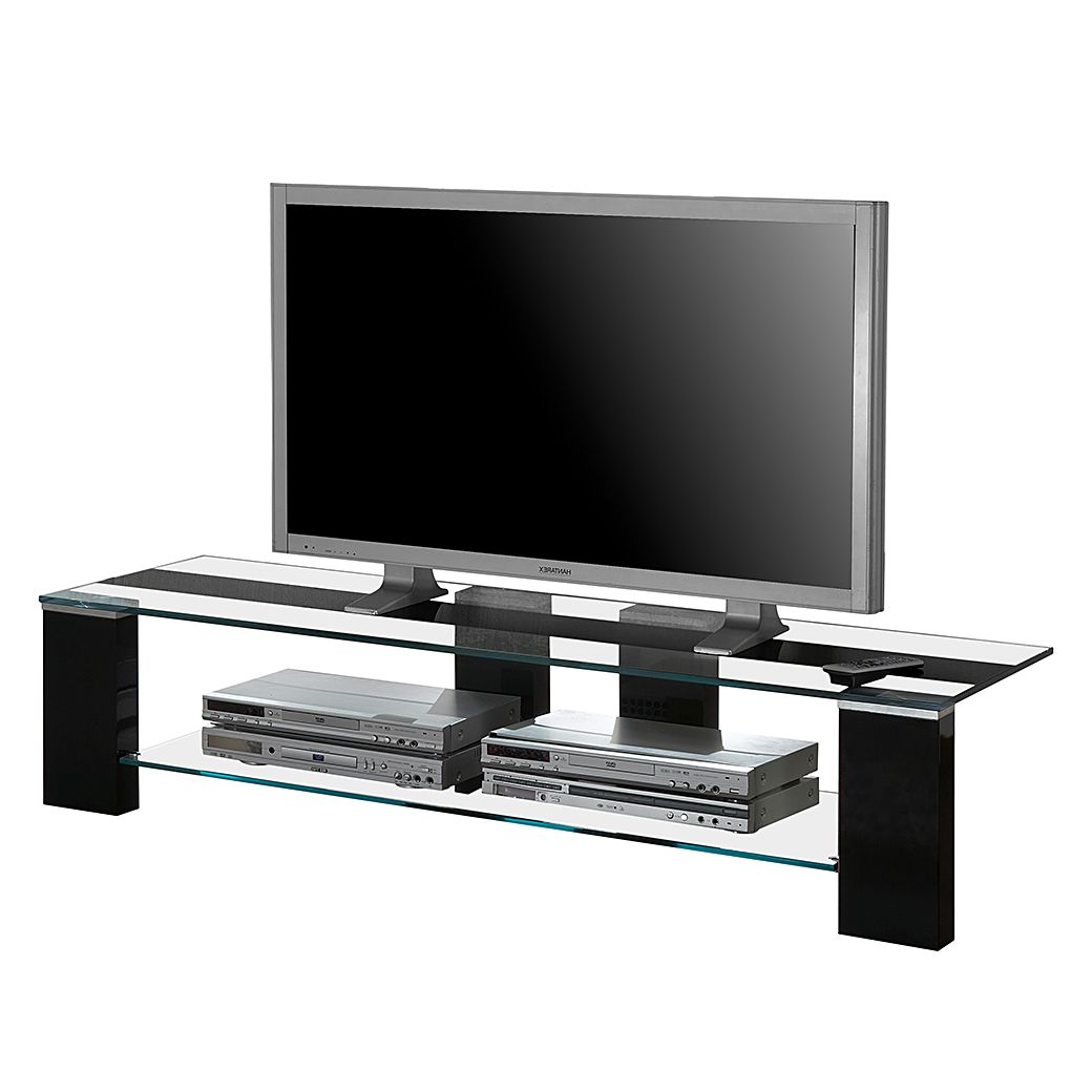 TV-Lowboard Amico – Hochglanz Schwarz / Klarglas, Bellinzona bestellen