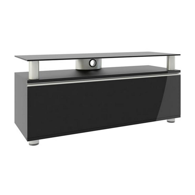TV-Lowboard Clano – Rack – MDF / Aluminium / ESG-Sicherheitsglas Schwarzlack, VCM günstig