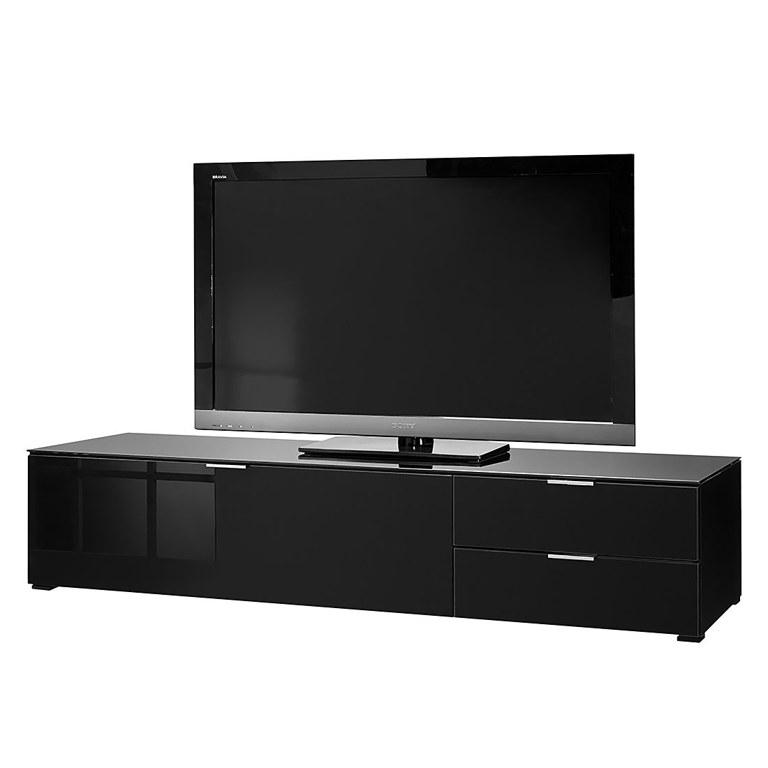 tv lowboard cleo iii schwarz cs schmal jetzt kaufen. Black Bedroom Furniture Sets. Home Design Ideas