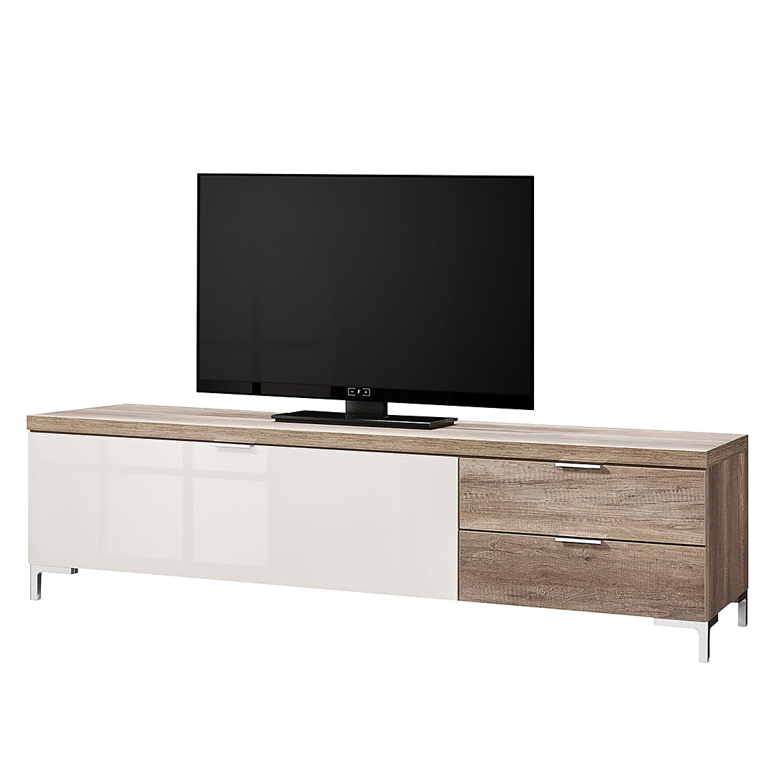 tv lowboard cleo iii wildeiche dekor glas sand chromf e cs schmal g nstig. Black Bedroom Furniture Sets. Home Design Ideas