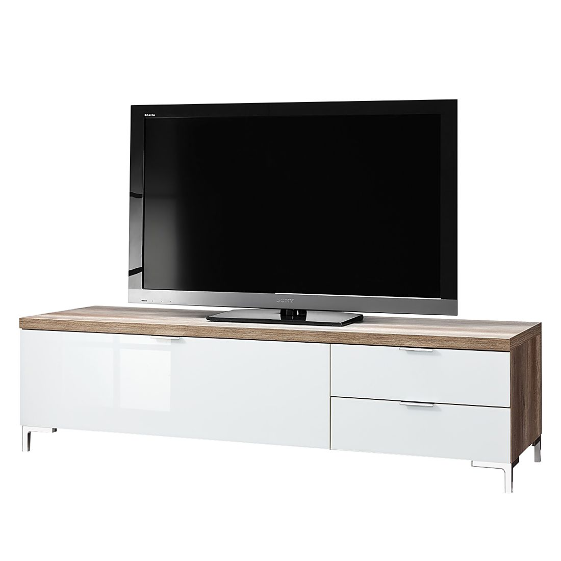 tv lowboard cleo iii wildeiche dekor glas wei chromf e cs schmal g nstig bestellen. Black Bedroom Furniture Sets. Home Design Ideas
