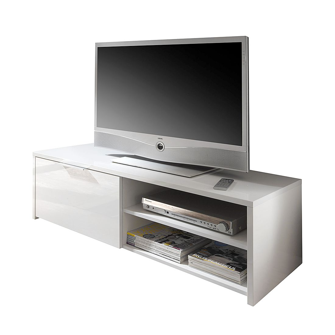 tv lowboard elianto hochglanz wei lc mobili bestellen. Black Bedroom Furniture Sets. Home Design Ideas