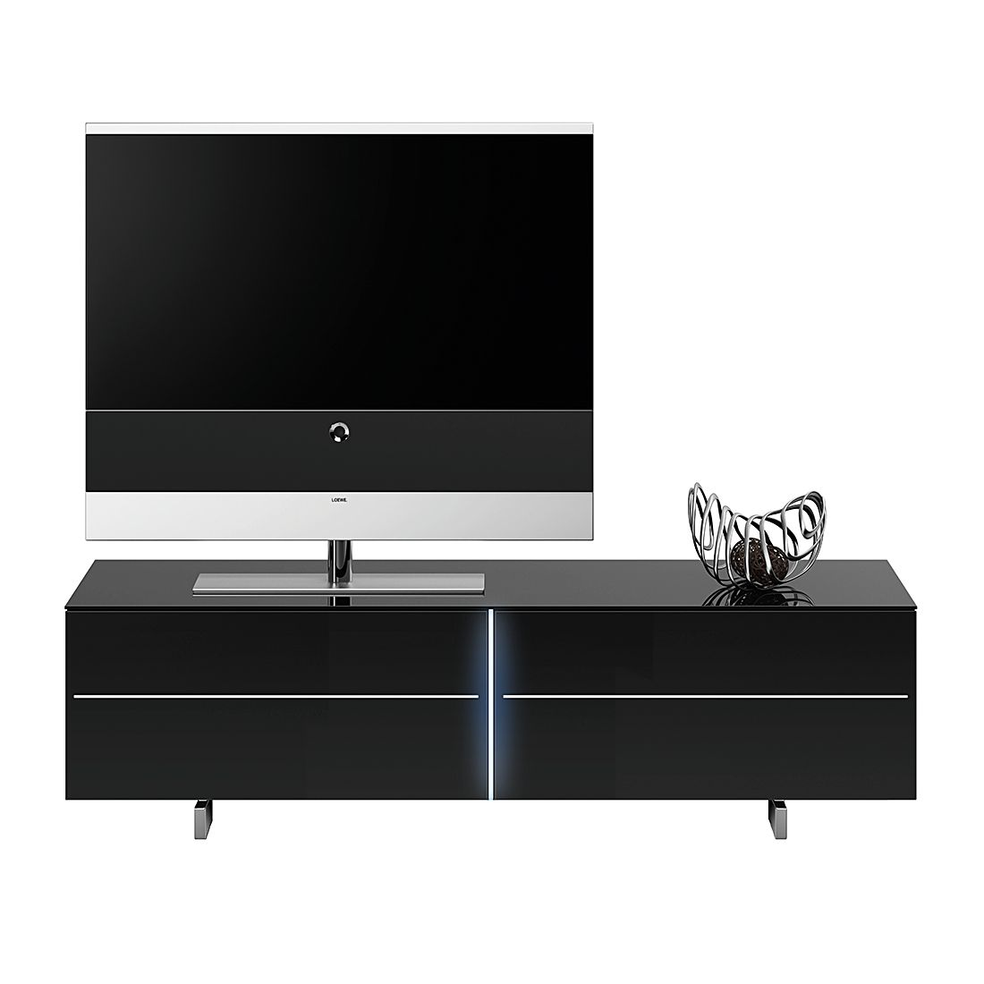 tv lowboard sl 8152 hochglanz schwarzglas schwarz. Black Bedroom Furniture Sets. Home Design Ideas
