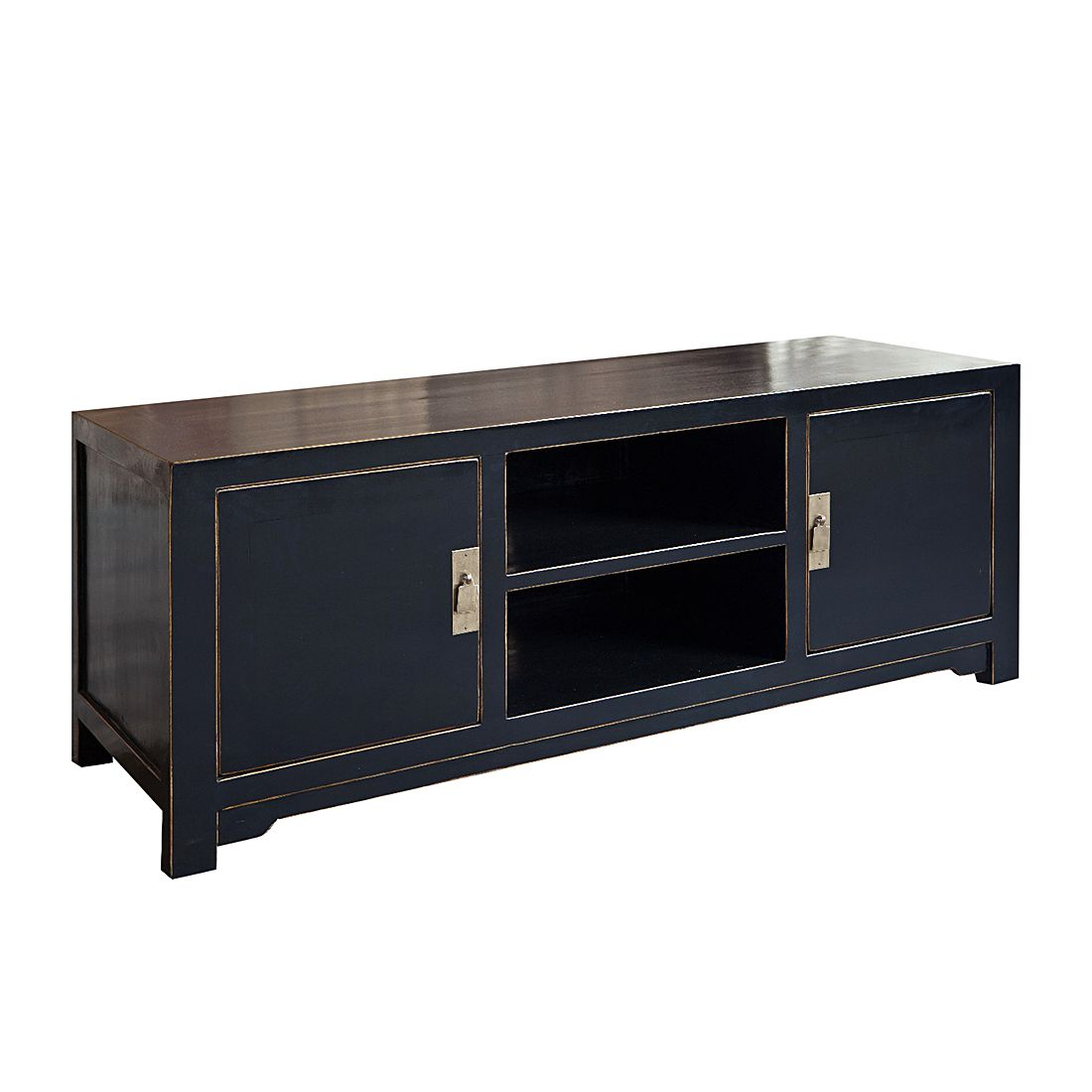 tv lowboard jinan pappel massiv schwarz lackiert. Black Bedroom Furniture Sets. Home Design Ideas
