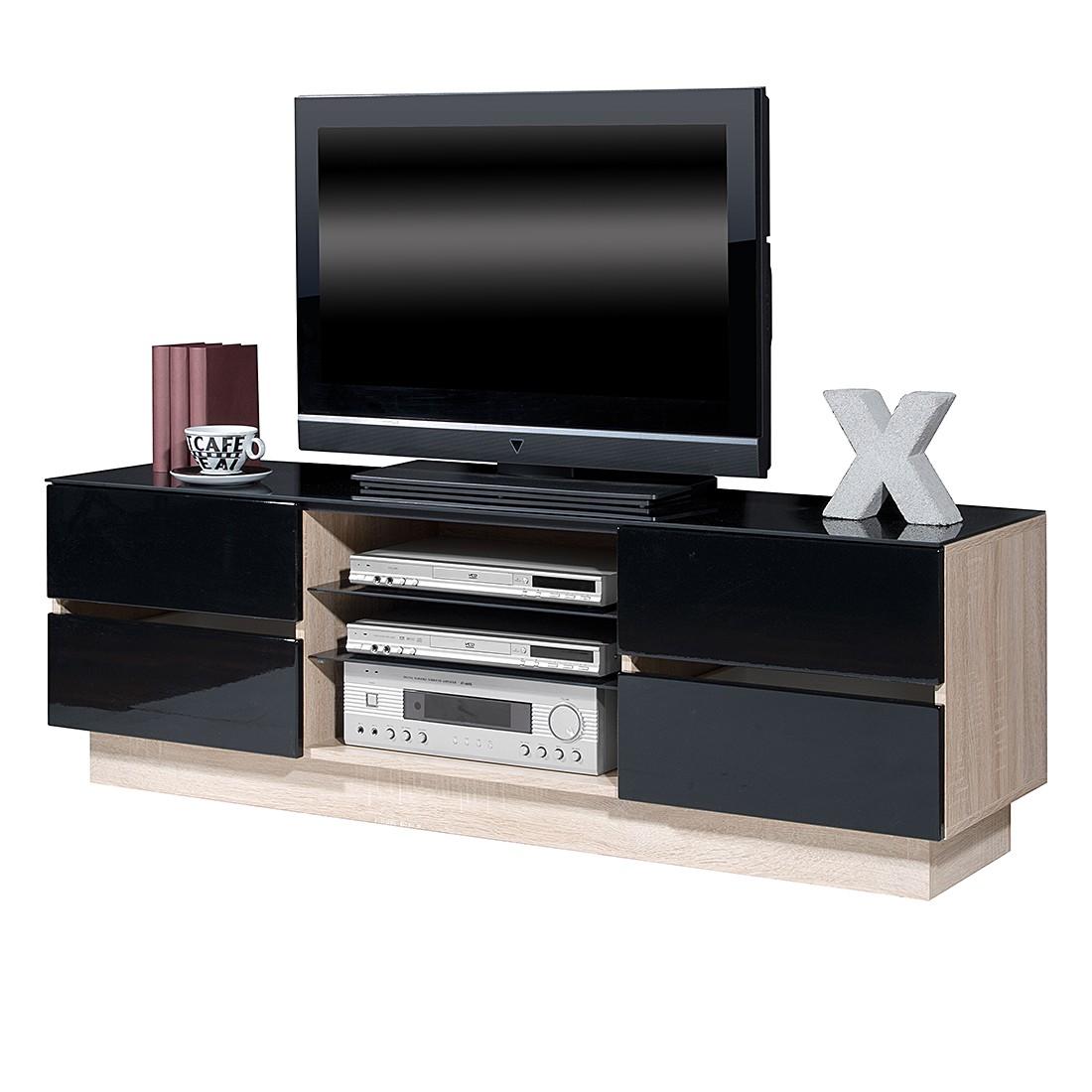 TV-Lowboard Leander – Hochglanz Schwarz/ Sonoma Eiche Dekor, Top Square online bestellen