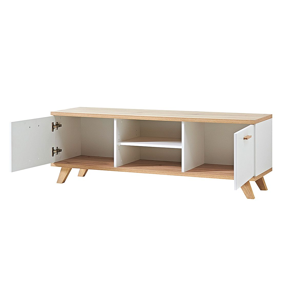 tv lowboard neston supermatt wei eiche sanremo dekor. Black Bedroom Furniture Sets. Home Design Ideas