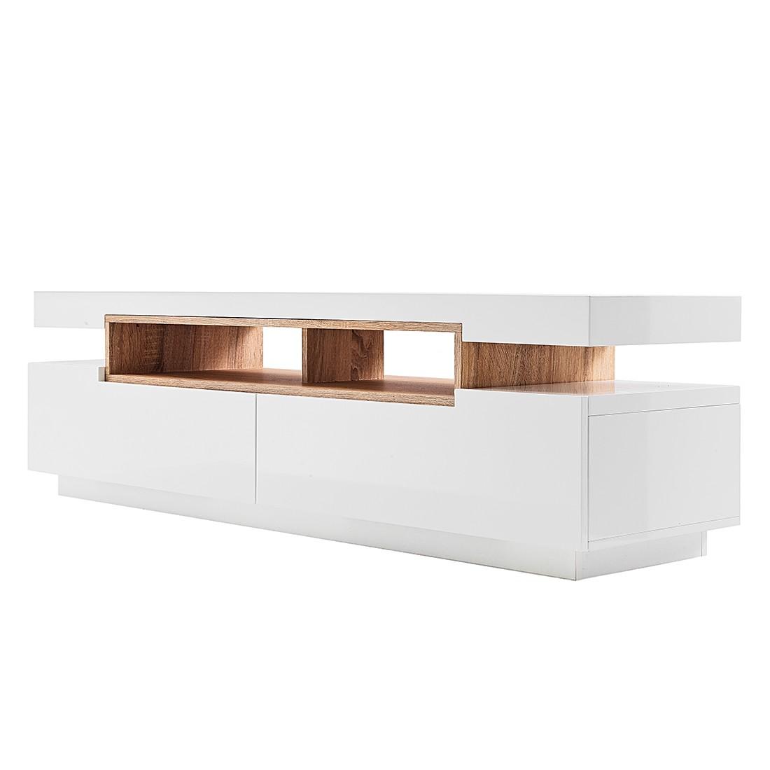 kleine meubels Tv-meubel Sajonia -hoogglans wit/onbewerkt eikenhouten ...
