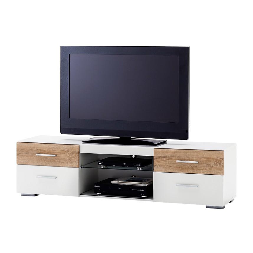 EEK A+, TV-Lowboard Smithers (inkl. Beleuchtung) – Hochglanz Weiß/Eiche Sägerau Dekor, loftscape günstig kaufen