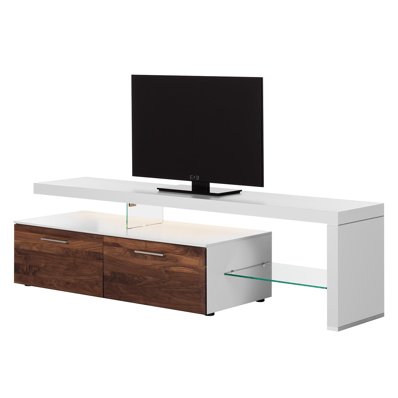 EEK A+, TV-Lowboard Solano I - Mit Beleuchtung - Nussbaum / Weiß - Mit TV-Bank rechts, Netfurn by GWINNER