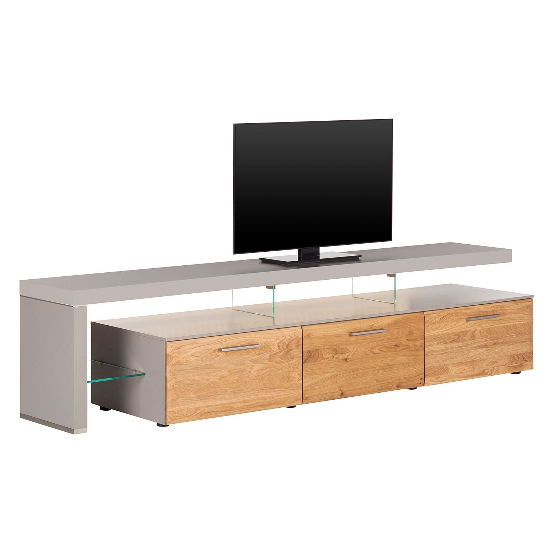 EEK A+, TV-Lowboard Solano II - Mit Beleuchtung - Asteiche / Platingrau - Mit TV-Bank links, Netfurn by GWINNER