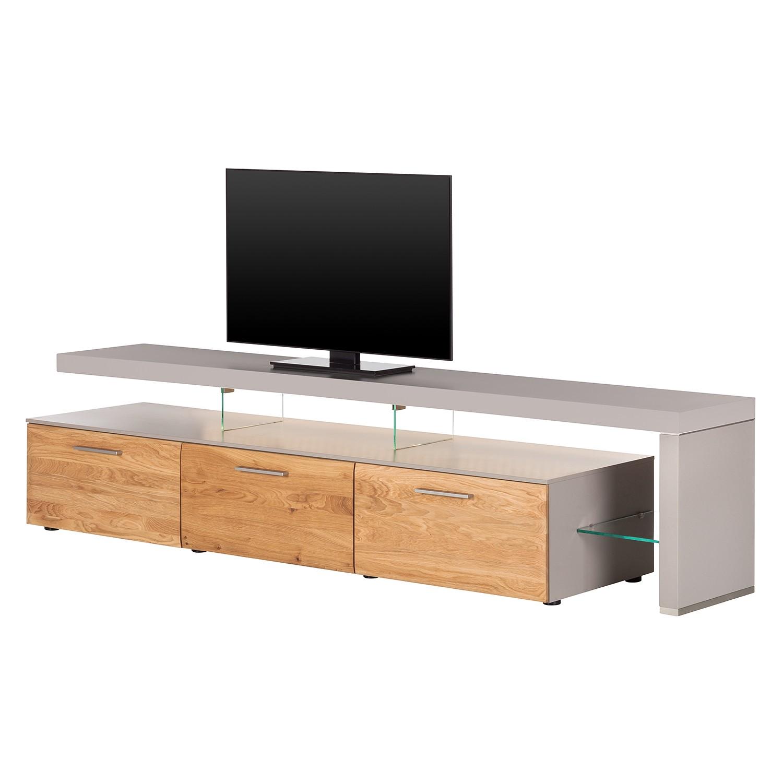 EEK A+, TV-Lowboard Solano II - Mit Beleuchtung - Asteiche / Platingrau - Mit TV-Bank rechts, Netfurn by GWINNER