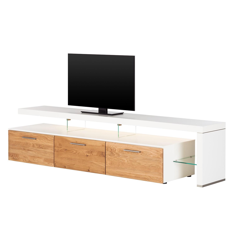 EEK A+, TV-Lowboard Solano II – Mit Beleuchtung – Asteiche / Weiß – Mit TV-Bank rechts, Modoform bestellen
