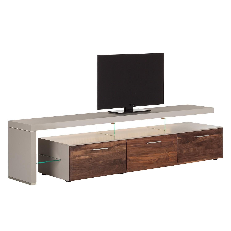 EEK A+, TV-Lowboard Solano II – Mit Beleuchtung – Nussbaum / Platingrau – Mit TV-Bank links, Modoform günstig