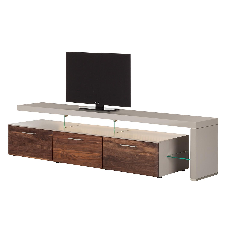 EEK A+, TV-Lowboard Solano II – Mit Beleuchtung – Nussbaum / Platingrau – Mit TV-Bank rechts, Modoform günstig kaufen
