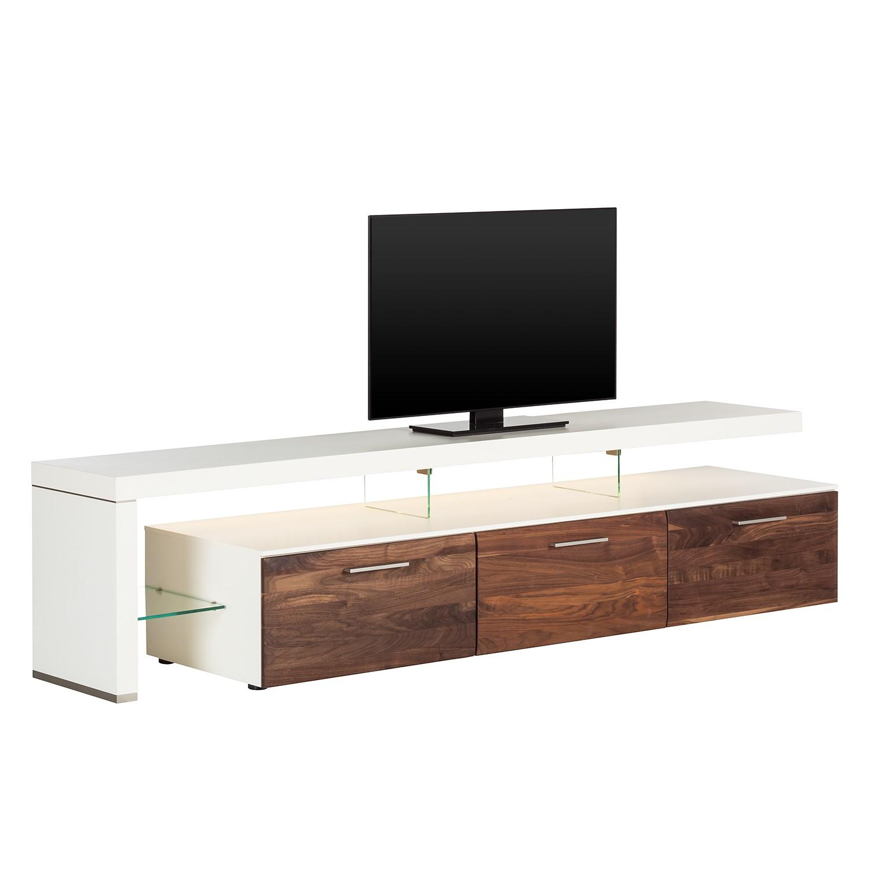 EEK A+, TV-Lowboard Solano II – Mit Beleuchtung – Nussbaum / Weiß – Mit TV-Bank links, Modoform günstig bestellen