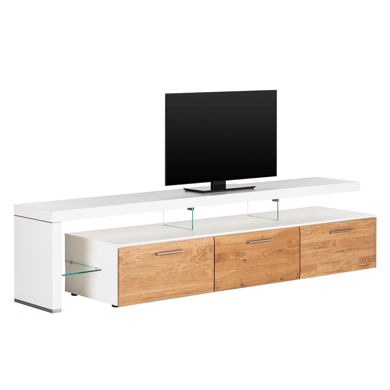 TV-Lowboard Solano II - Ohne Beleuchtung - Asteiche / Weiß - Mit TV-Bank links, Netfurn by GWINNER