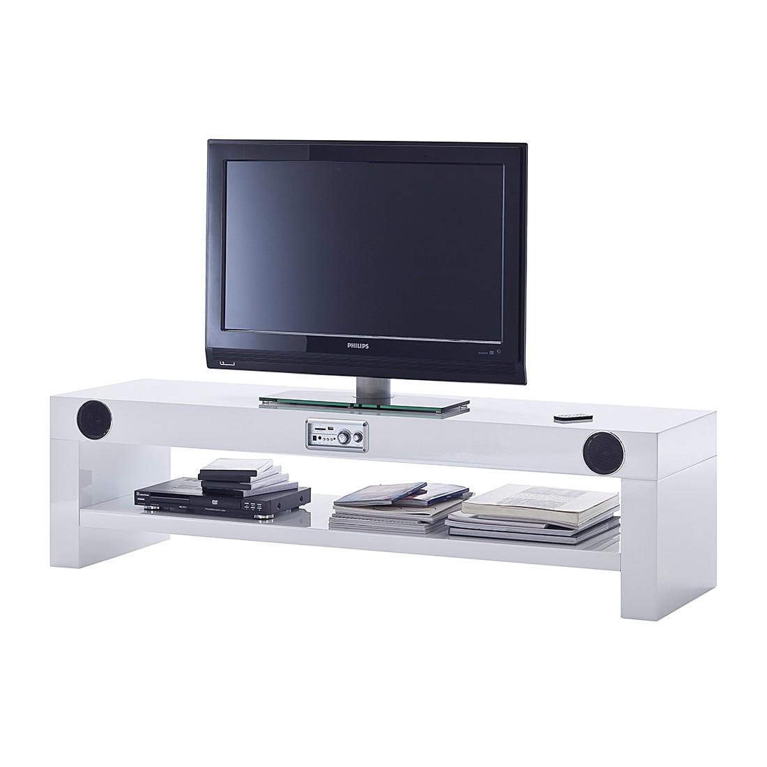 tv lowboard sound dock 2 lautsprecher 1 subwoofer hochglanz wei lackiert. Black Bedroom Furniture Sets. Home Design Ideas