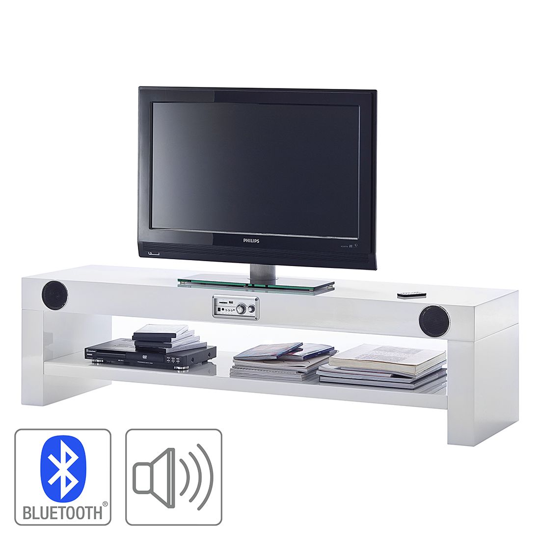 tv lowboard sound dock 2 lautsprecher 1 subwoofer. Black Bedroom Furniture Sets. Home Design Ideas
