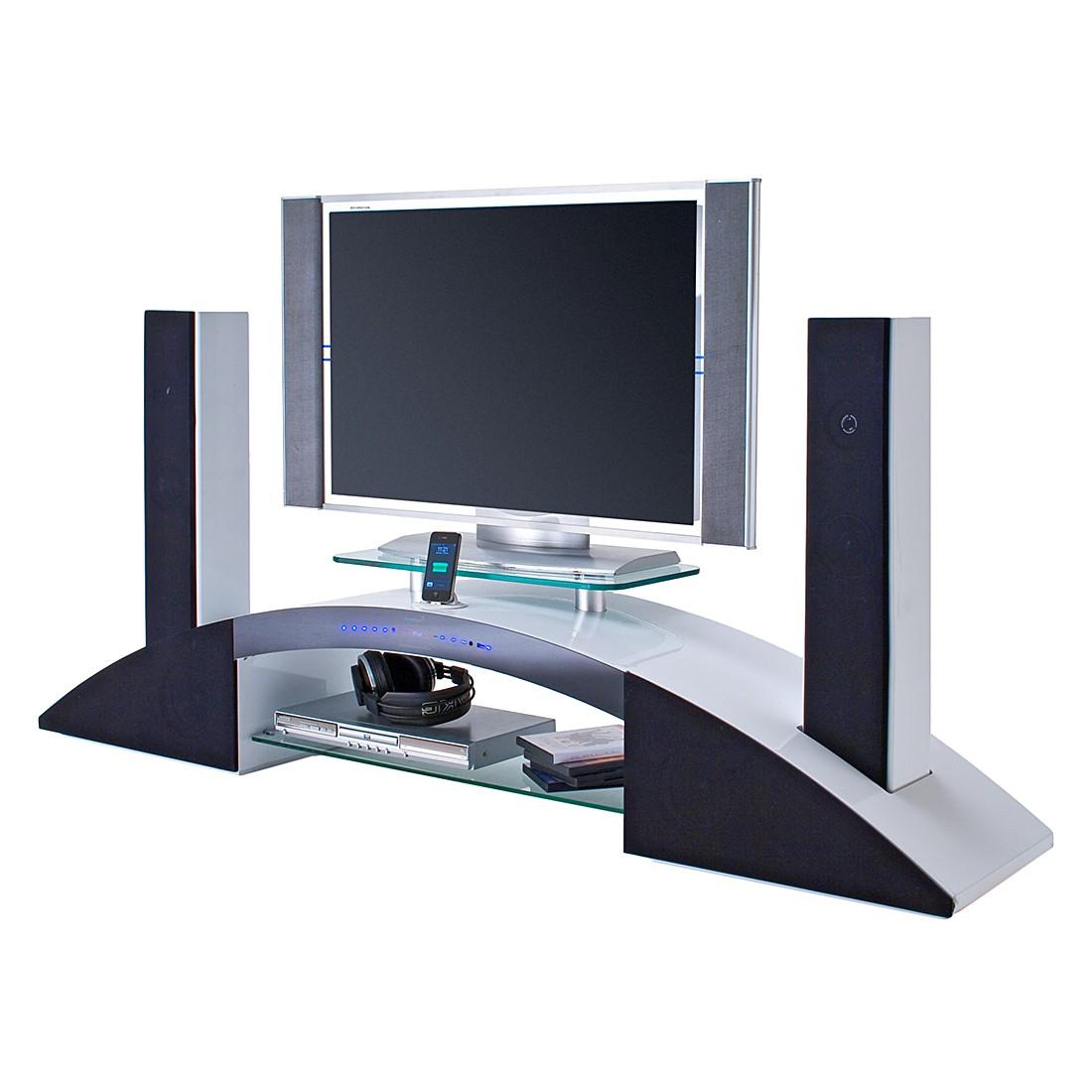 tv lowboard sound dock iv 2 hocht ner 2 mittelt ner 2 subwoofer hochglanz wei lackiert. Black Bedroom Furniture Sets. Home Design Ideas
