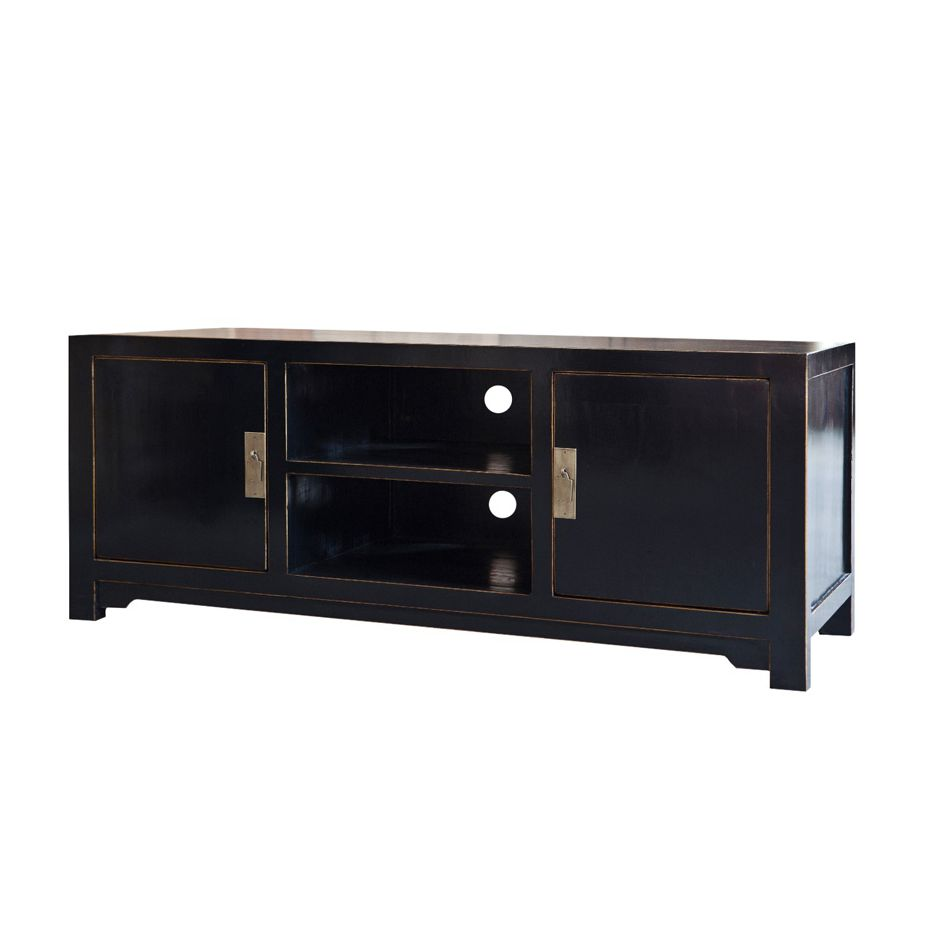 tv lowboard tibet pappel massivholz schwarz schrank. Black Bedroom Furniture Sets. Home Design Ideas