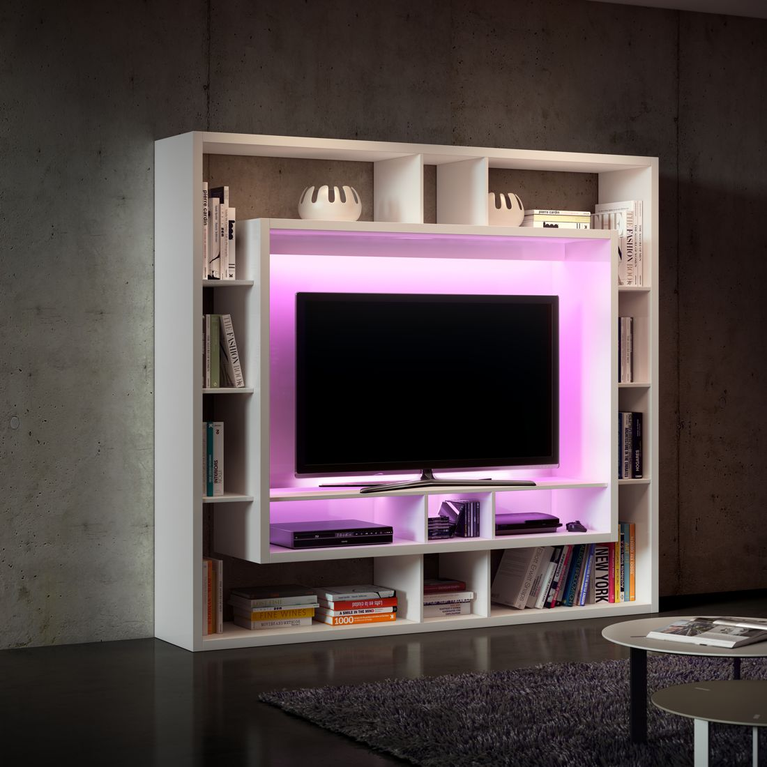 eek a wohnwand easy i cremewei rgb led beleuchtung loftscape. Black Bedroom Furniture Sets. Home Design Ideas