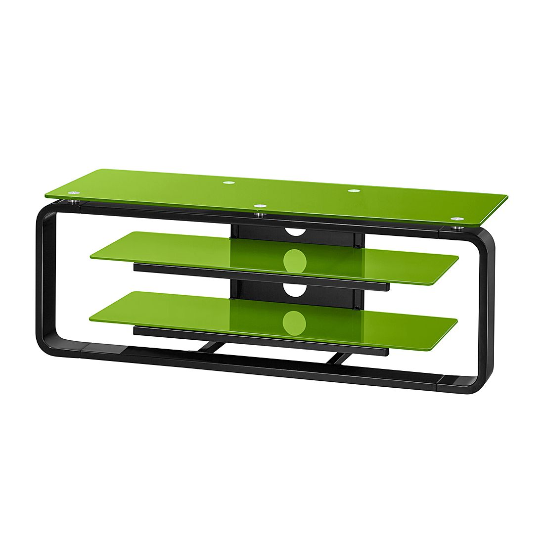 ... Italia. Mobiletto TV Jared I - Nero / Vetro verde - 110 cm, loftscape