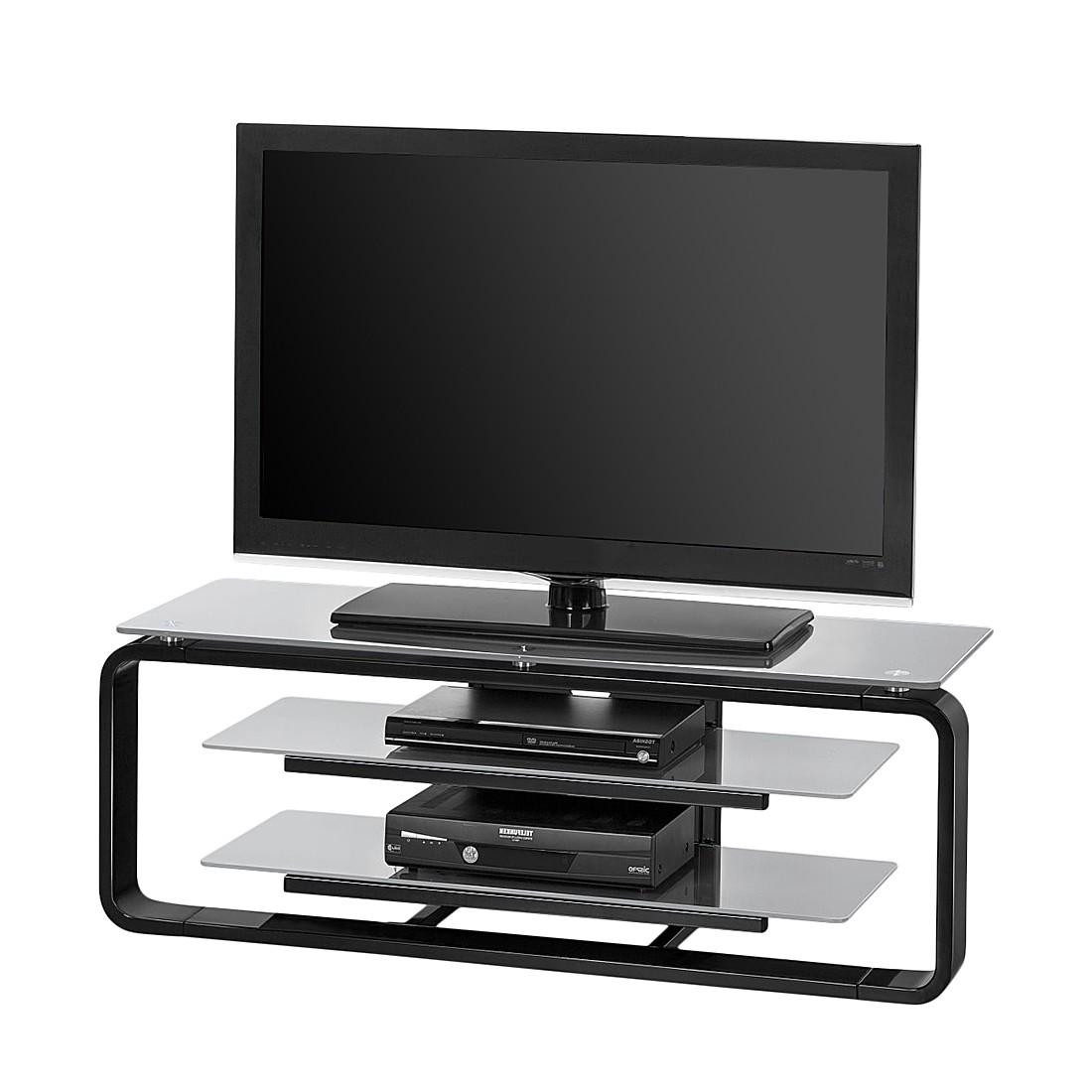 tv rack jared i schwarz glas platingrau 110 cm tv board schrank tisch regal ebay. Black Bedroom Furniture Sets. Home Design Ideas