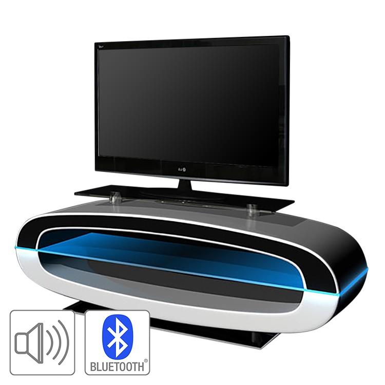 EEK A+, TV-Rack Lavian (inkl. Beleuchtung/Soundsystem) – Hochglanz Weiß, loftscape günstig