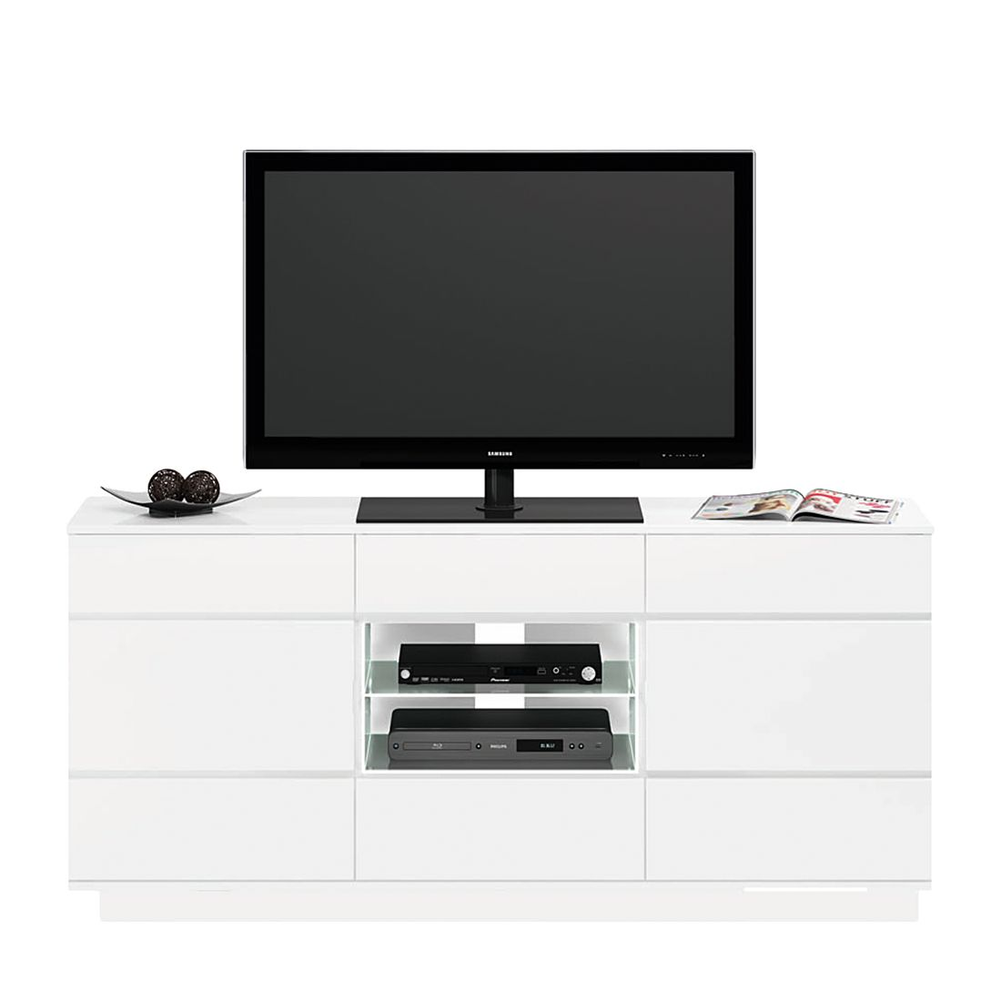 tv rack cuuba ml 316 4 led hochglanz wei. Black Bedroom Furniture Sets. Home Design Ideas