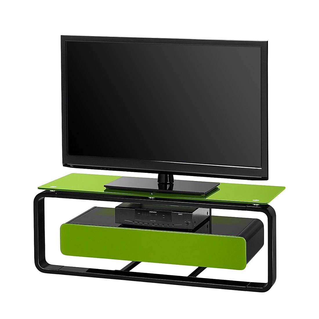 tv rack shanon schwarz glas gr n 110 cm loftscape kaufen. Black Bedroom Furniture Sets. Home Design Ideas