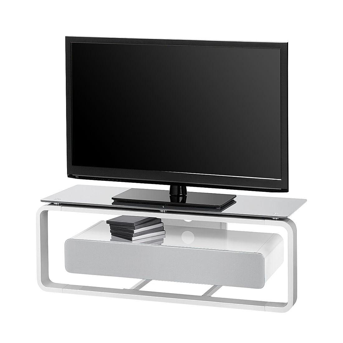 TV-Rack Shanon – Weiß / Glas Platingrau – 110 cm, loftscape bestellen