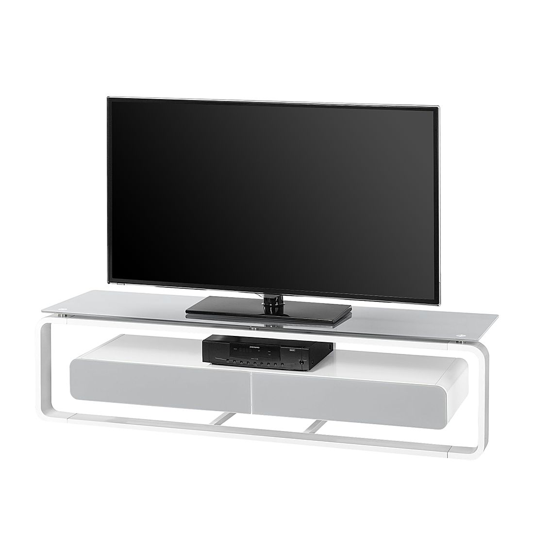 tv rack shanon wei glas platingrau 150 cm loftscape jetzt kaufen. Black Bedroom Furniture Sets. Home Design Ideas