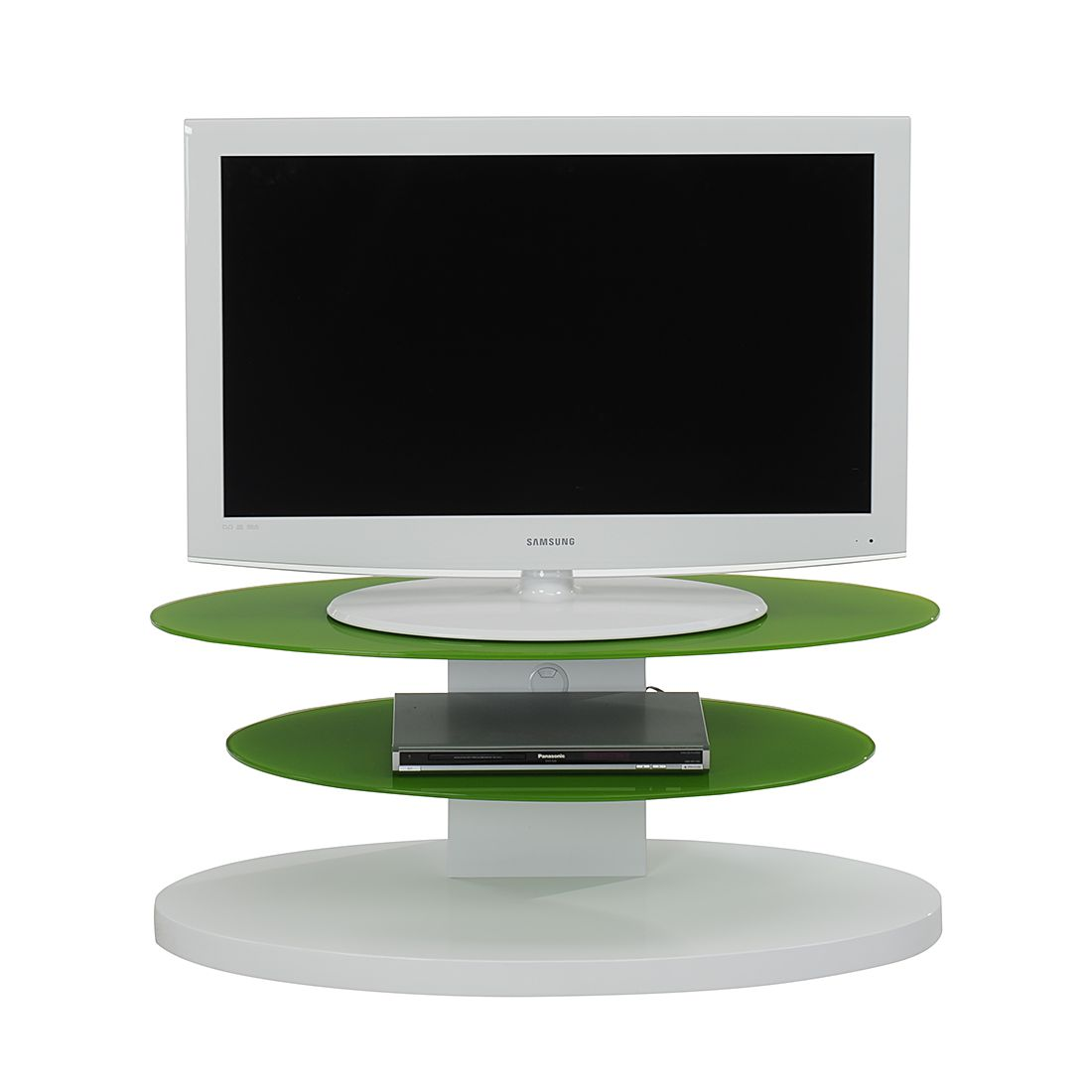 Tv Rack Cuuba Mojo 300 Hochglanz Weißglas Grün Elliptische Form