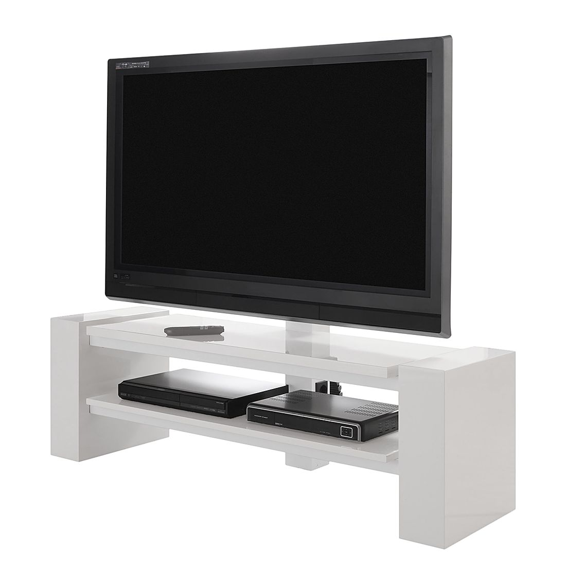 tv rack x line i hochglanz wei schnepel. Black Bedroom Furniture Sets. Home Design Ideas