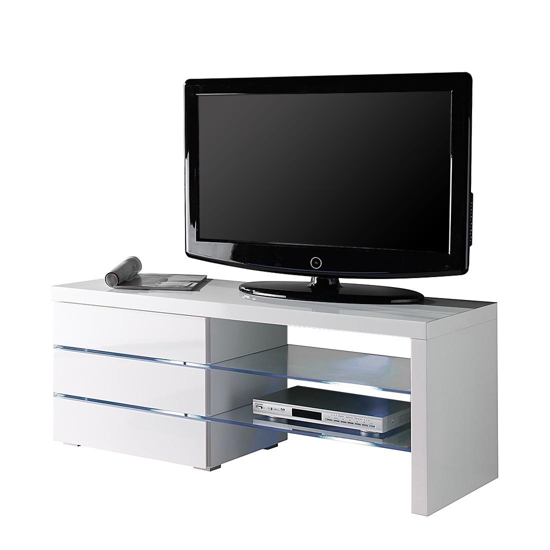 Meuble tv sola eclairage fourni blanc brillant 110 for Meuble tv 110 cm blanc