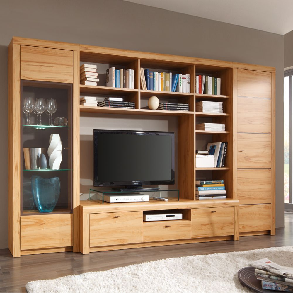 tv schrankwand denna 4 teilig kernbuche dekor mit b cherregal ausf hrung ohne. Black Bedroom Furniture Sets. Home Design Ideas