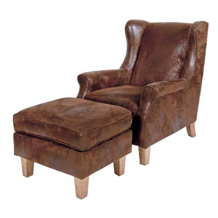 TV Sessel mit Hocker Variatera (2-teilig) – Microfaser – Wildlederoptik Braun, Möbel Exclusive bestellen