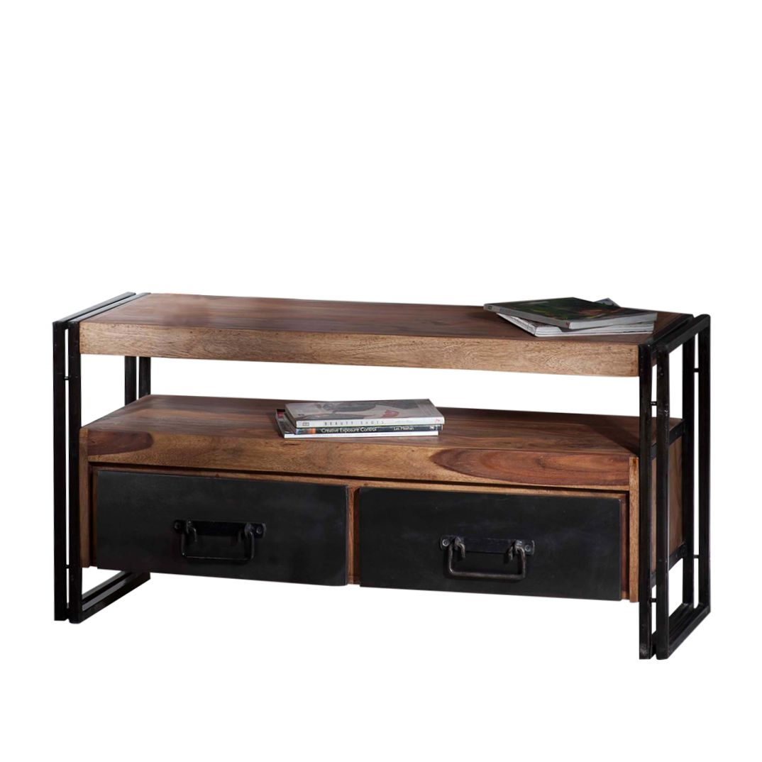 tv tisch portland shesham massivholz alteisen natur lackiert schwarz. Black Bedroom Furniture Sets. Home Design Ideas