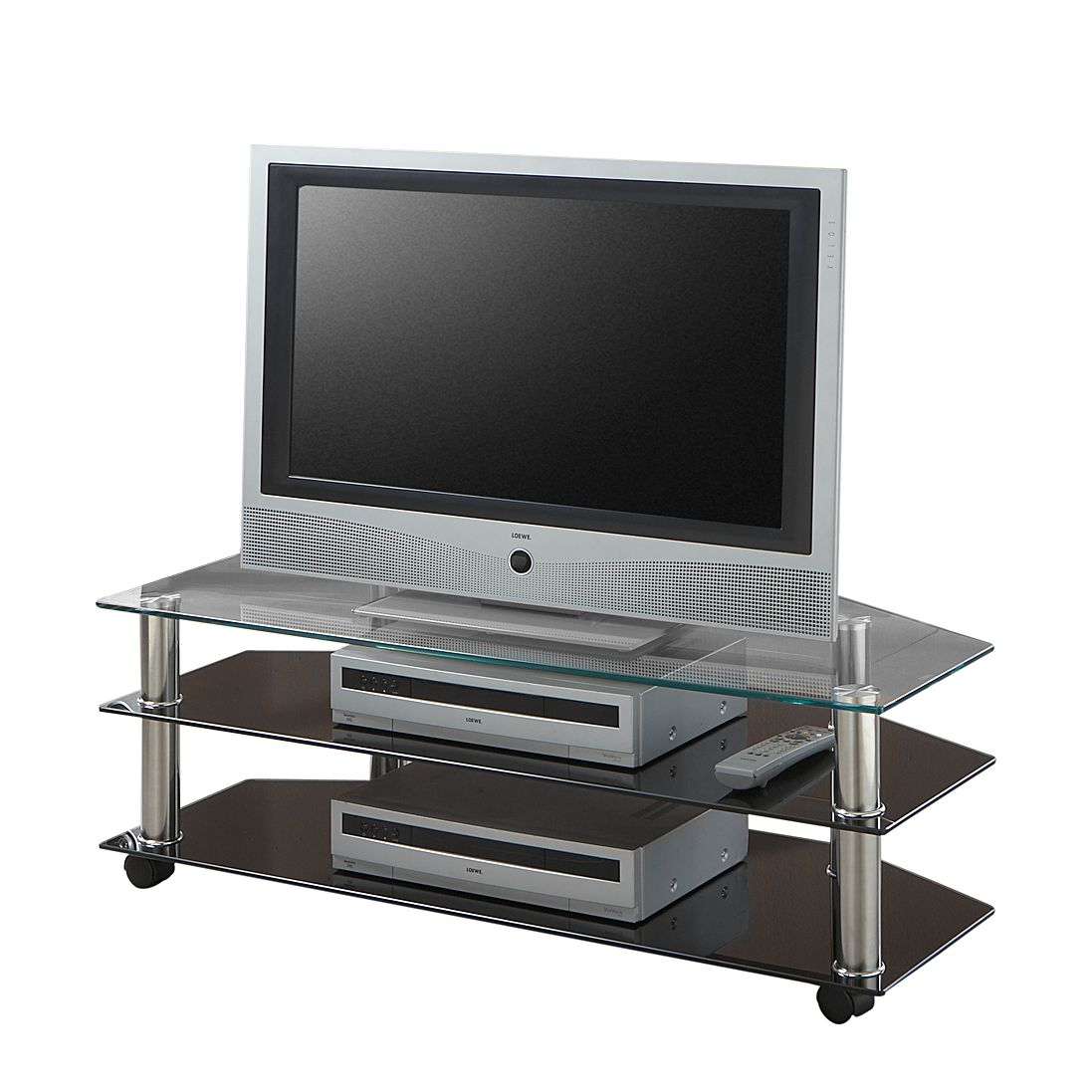 tv wagen latitia metall glas verchromt schwarz klar homedreams g nstig. Black Bedroom Furniture Sets. Home Design Ideas