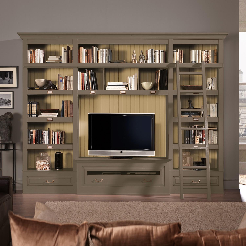 TV-Wand Azjana I - Pinie teilmassiv - Granit / Pinie Creme - Mit Leiter, Maison Belfort
