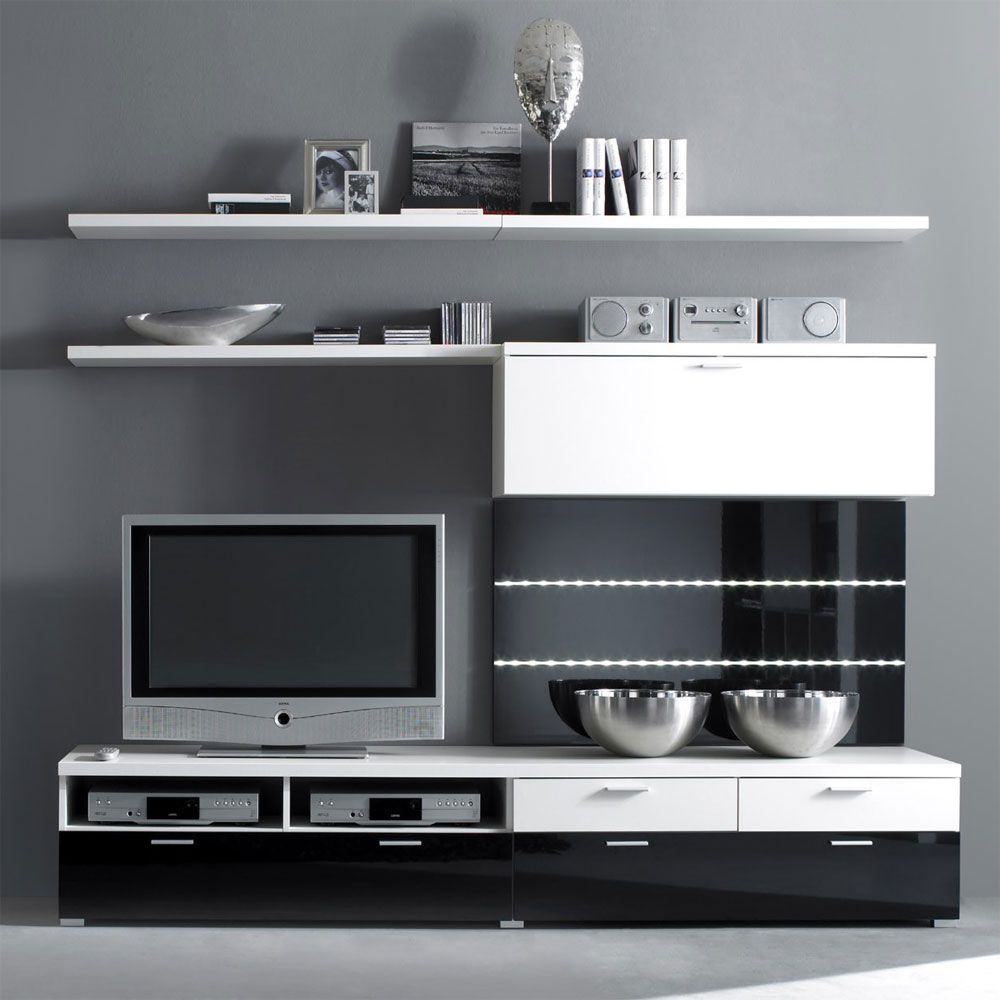 tv wand batros 6 teilig wei schwarz hochglanz. Black Bedroom Furniture Sets. Home Design Ideas