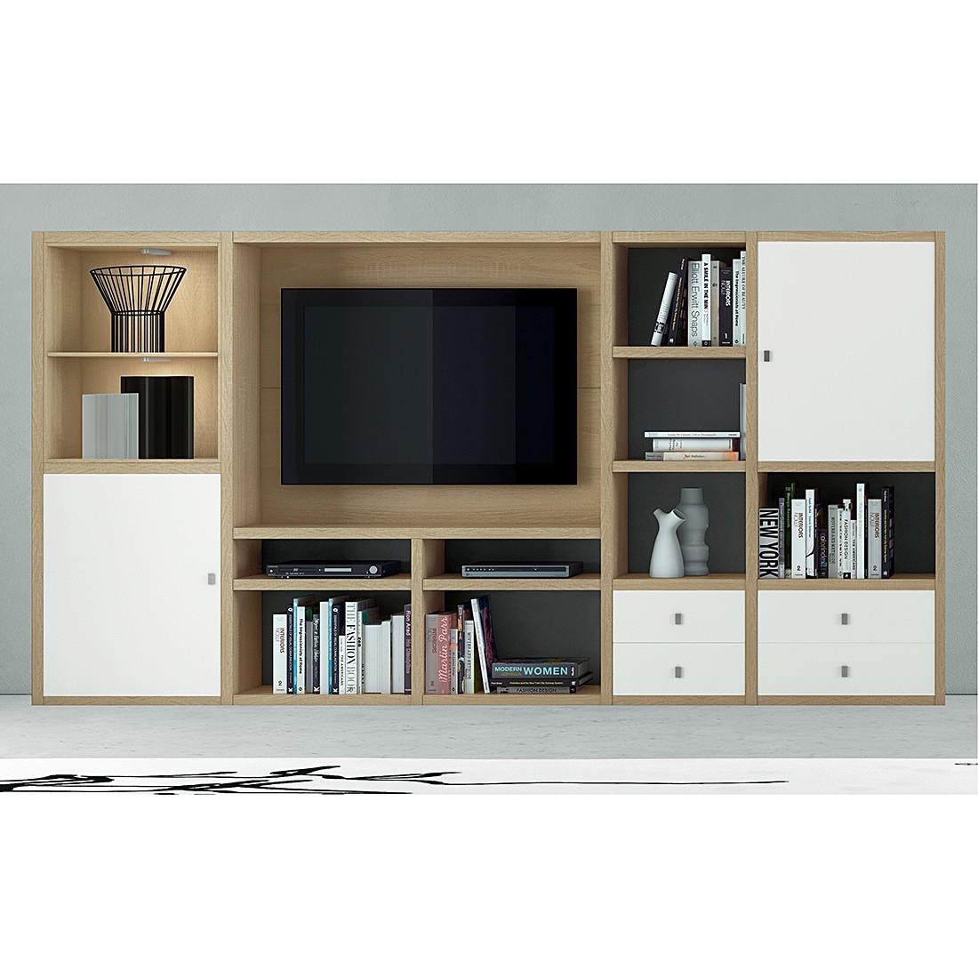 EEK A+, TV-Wand Emporior I - inkl. Beleuchtung - Weiß / Eiche Dekor, loftscape